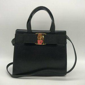 Ferragamo Black Leather Handbag/Shoulder Bag